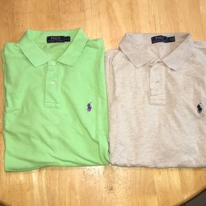 Two men's short sleeve polos
